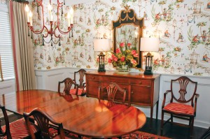 Central Virginia Home Magazine Mowry Chinoiserie dining room Jul 2014