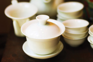 White tea porcelain and dish